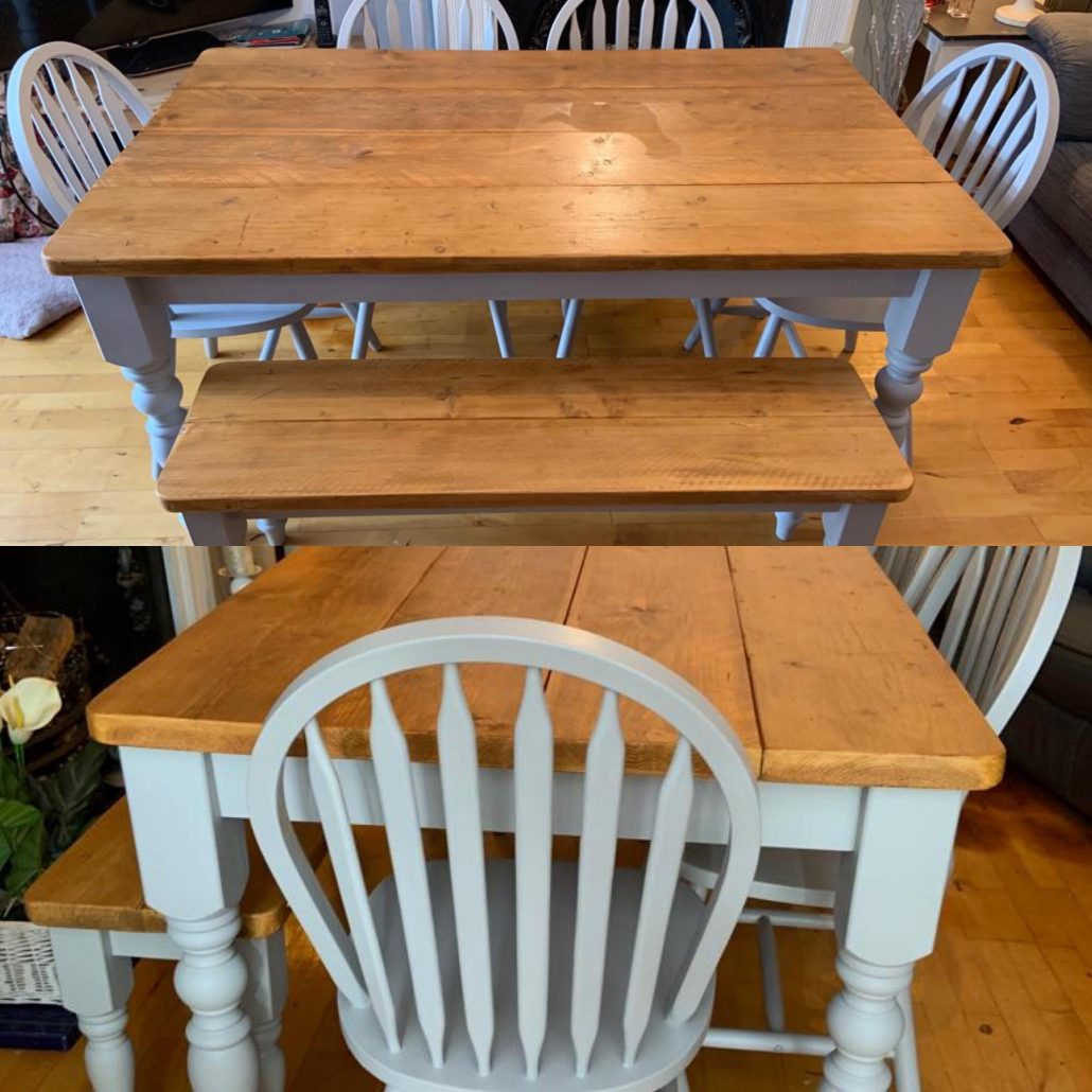 Grey Blue refurbished table and chairs made from reclaimed wood