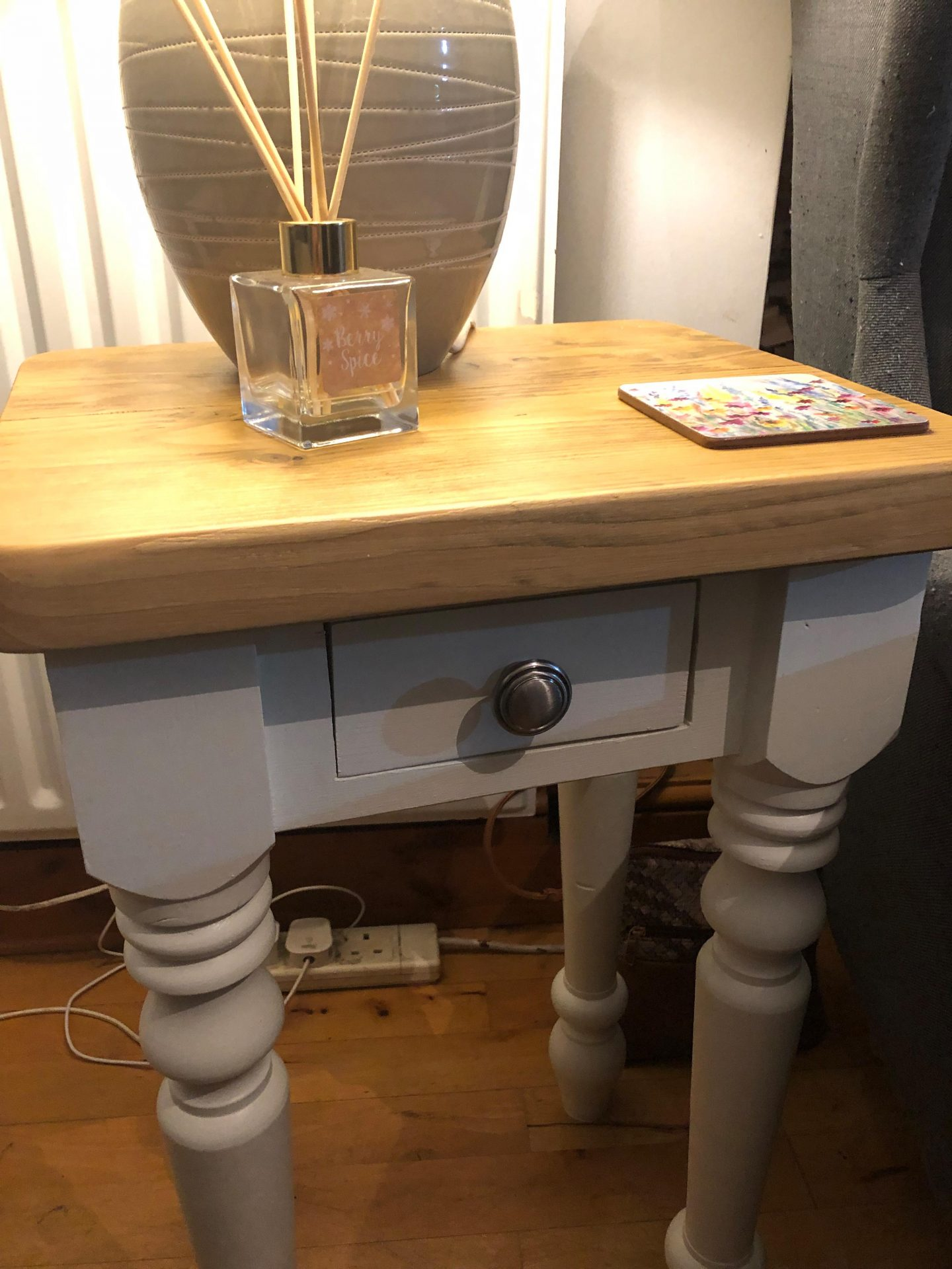reclaimed wood end table/side table painted grey with sanded wood top