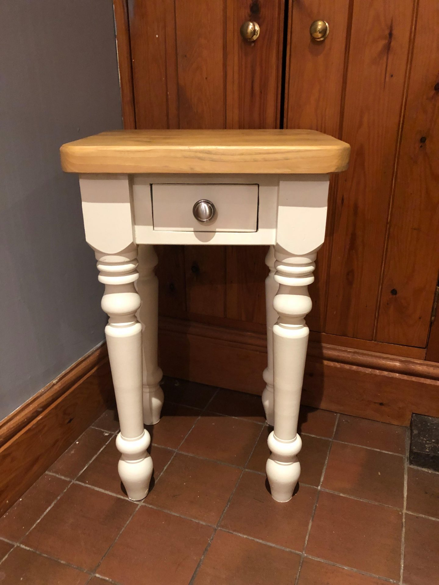 reclaimed wood end table/side table painted white with sanded wood top