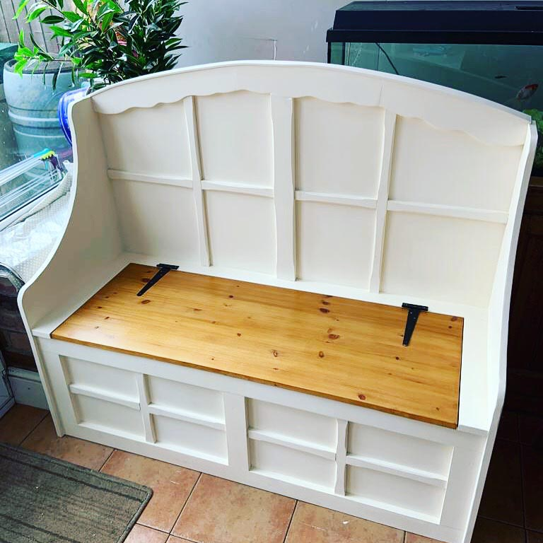 Refurbished wooden day bed bench painted in white with pine lid