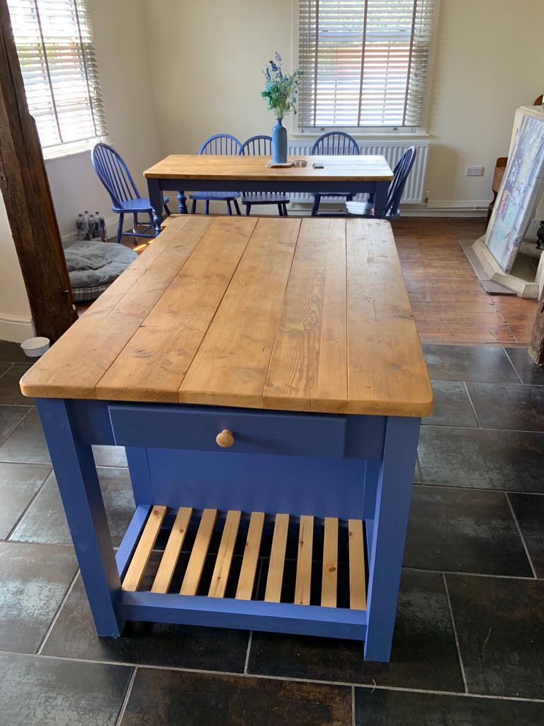 Bespoke Kitchen Island with blue paint and sanded pine top