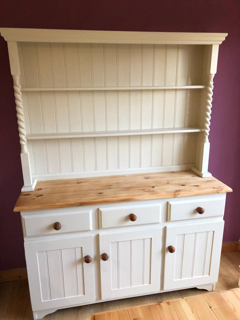 Refurbished Wooden Sideboard with white paint and sanded top