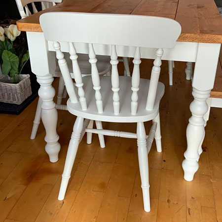Sanded and painted dining room chair restoration