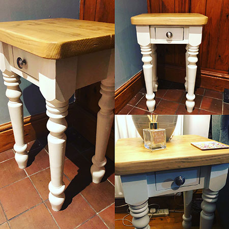 side table / bedside table made from reclaimed wood