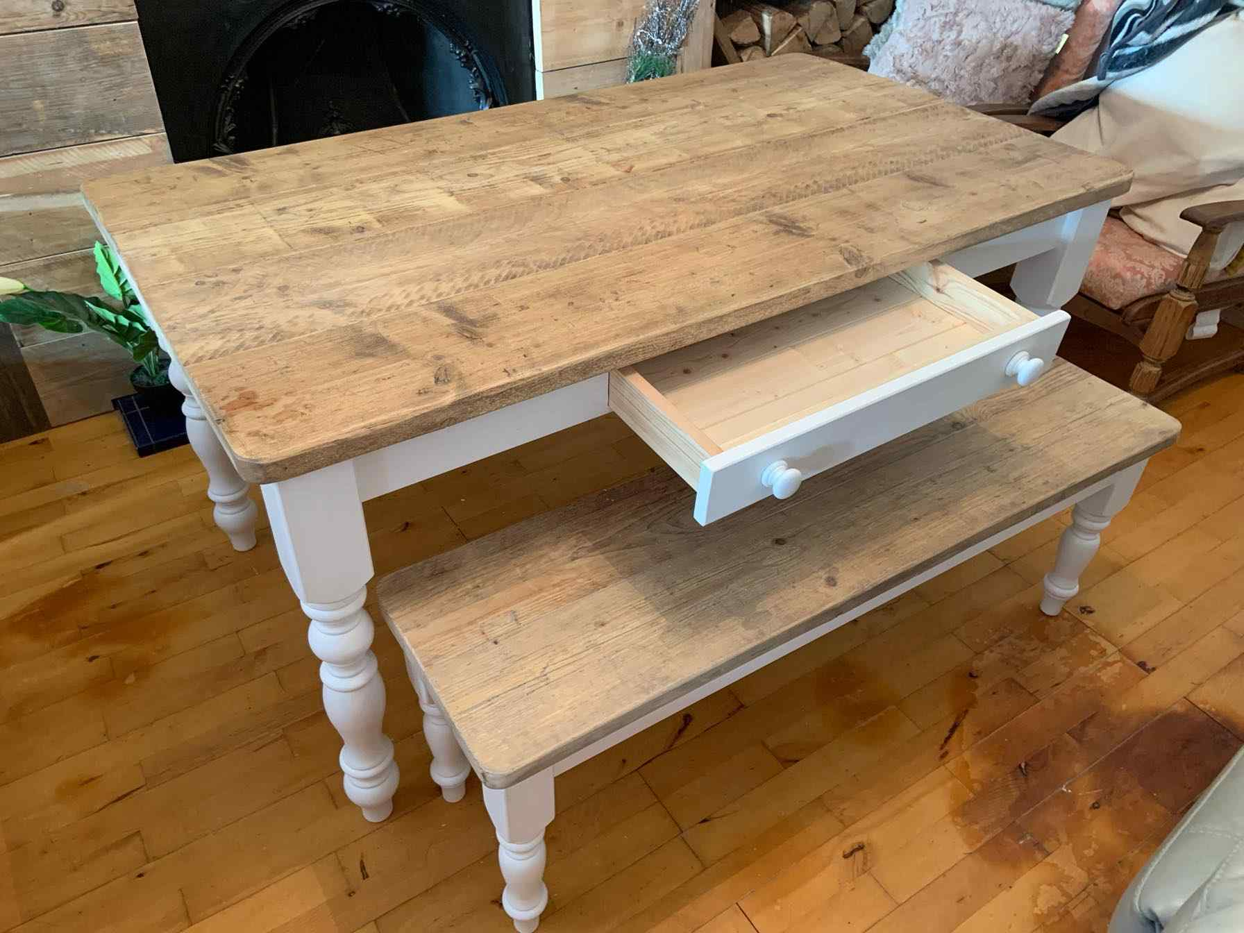 bespoke reclaimed wood dining table with drawer