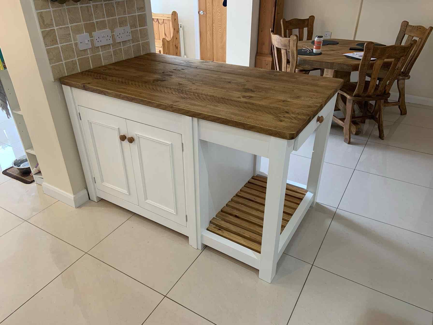 bespoke reclaimed wood kitchen island