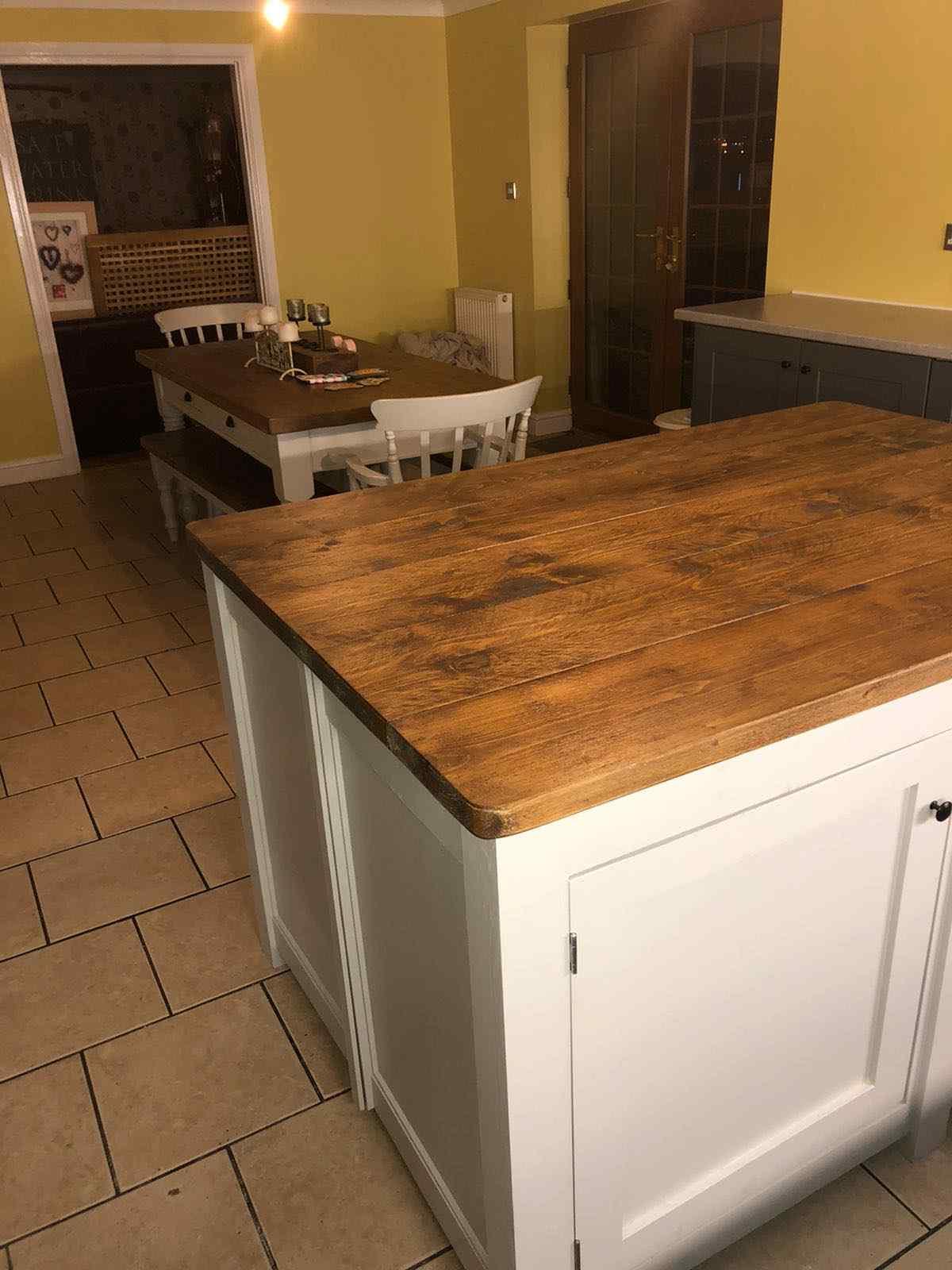 bespoke solid wood kitchen island rounded corners