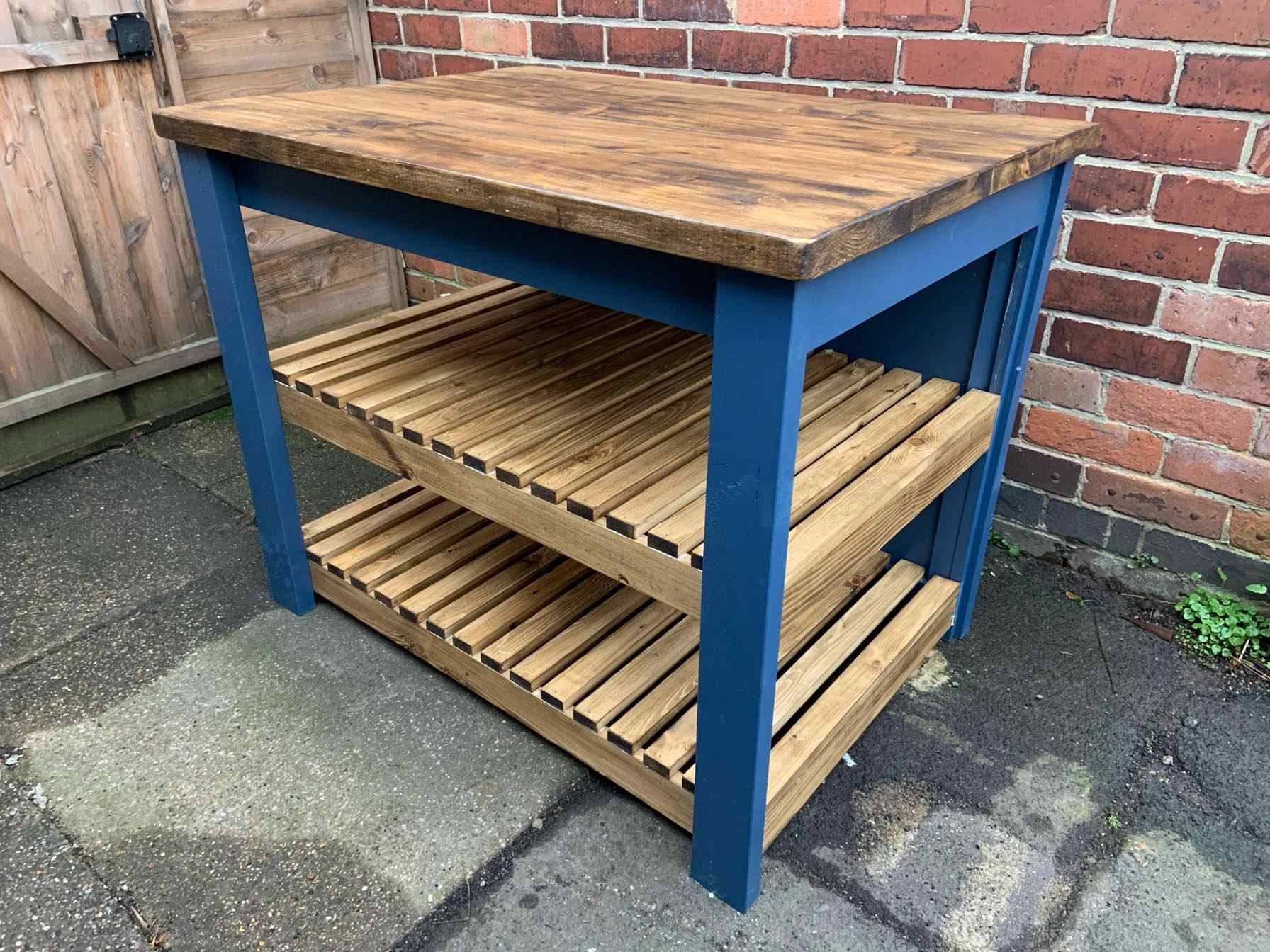 bespoke solid wood kitchen island with shelves