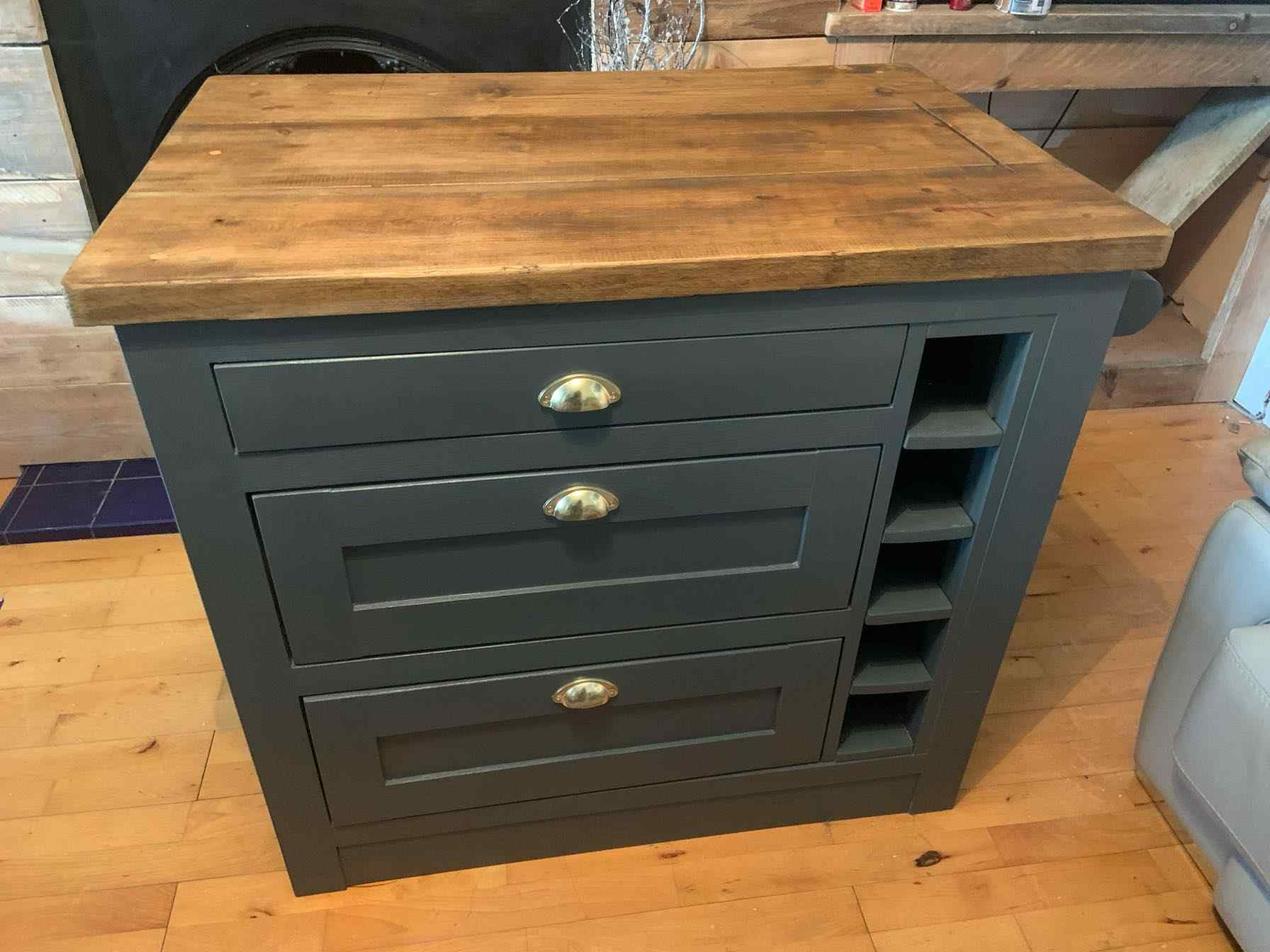 bespoke solid wood kitchen island with winerack