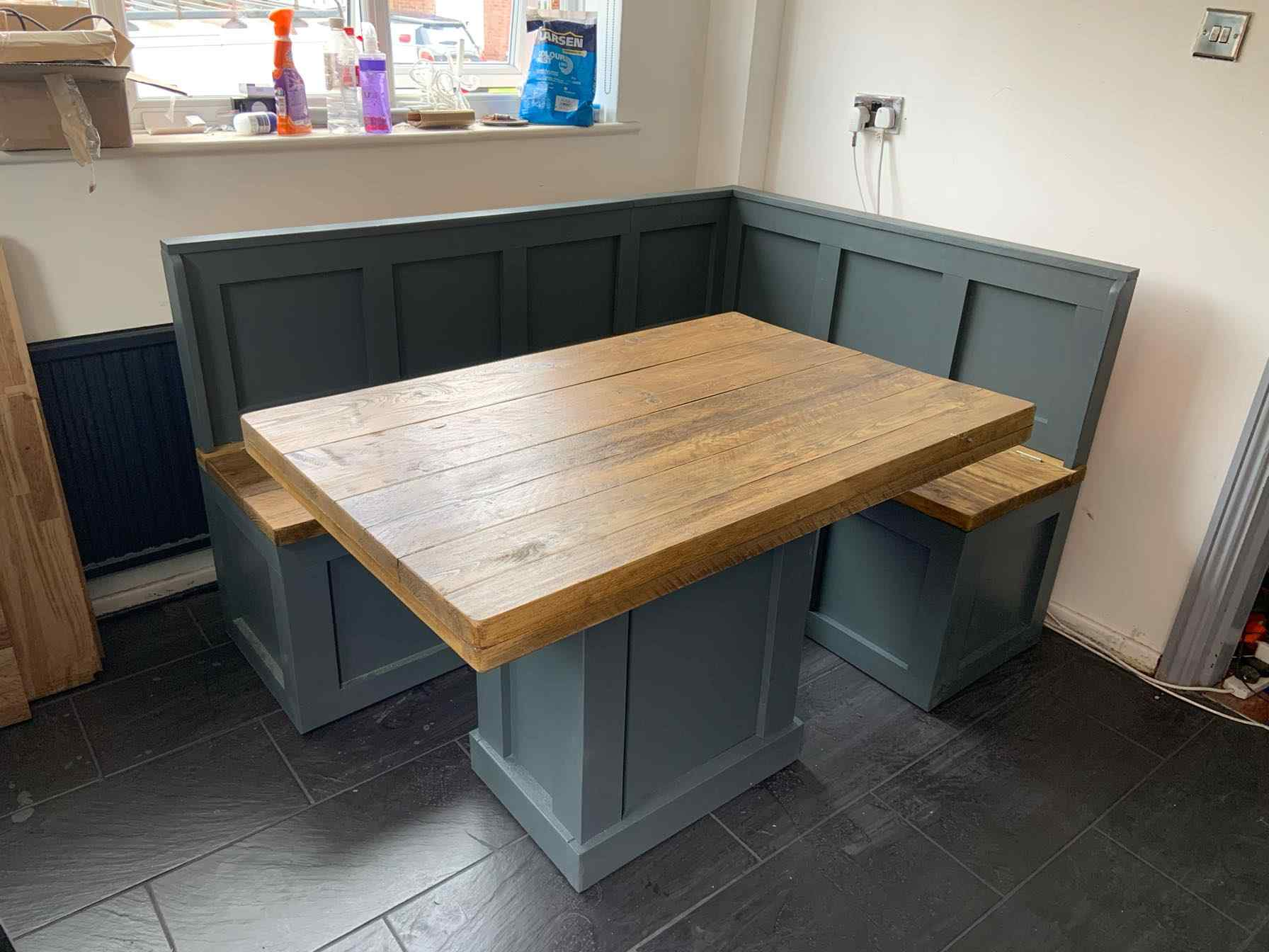 bespoke wooden kitchen dining booth