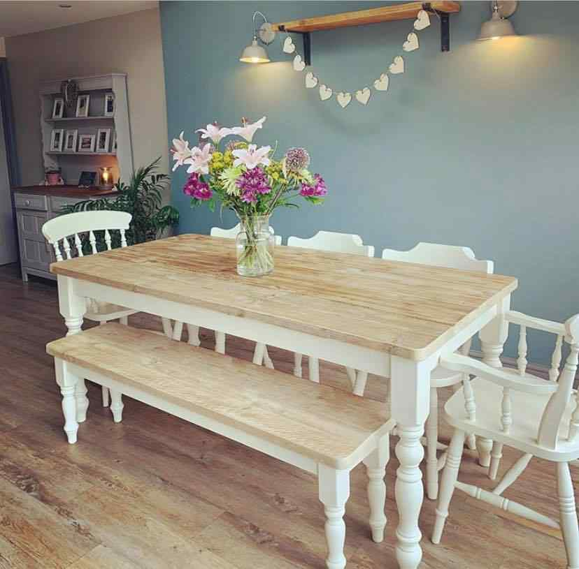 cream painted legs handmade dining table