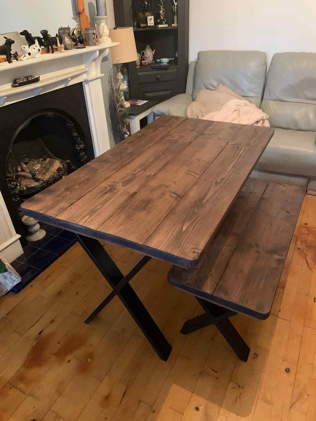 cross legged wooden dining table with bench