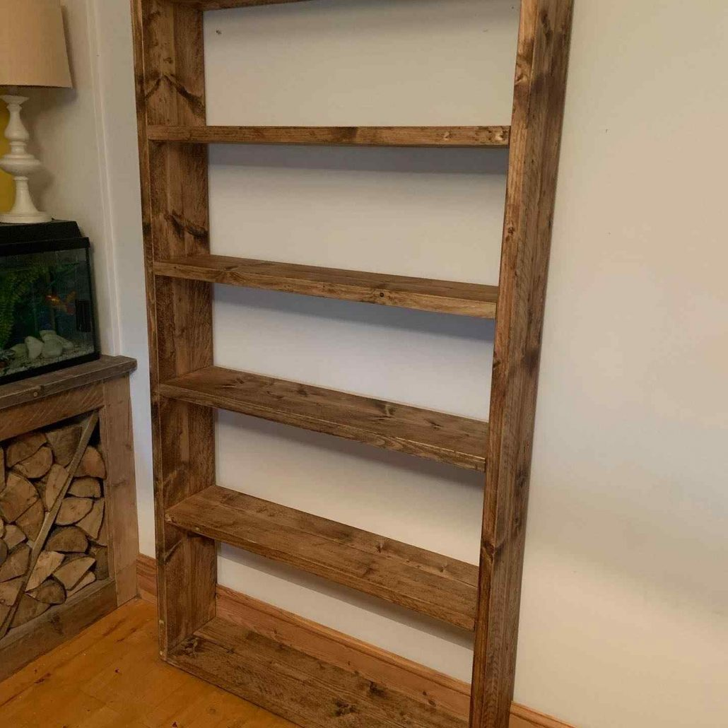 freestanding solid wood shelving reclaimed wood