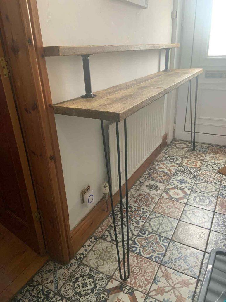 hallway leaning table handmade metal pin legs