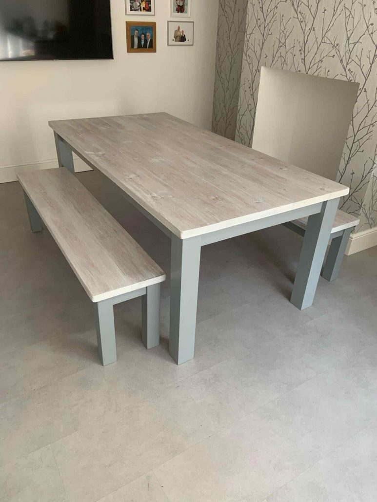 hand made grey painted dining table