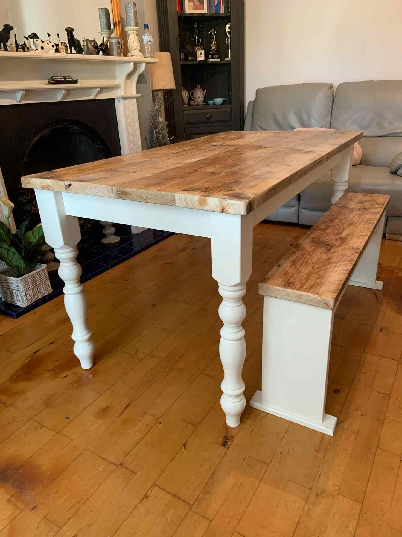 hand made wooden dining table with bench