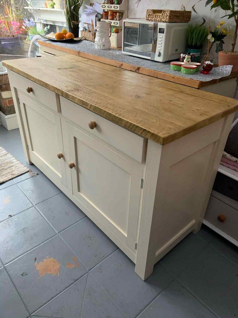 handmade wooden cream kitchen pantry unit