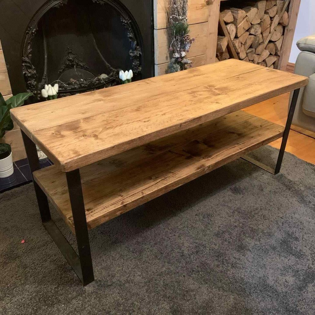handmade wooden table with shelf