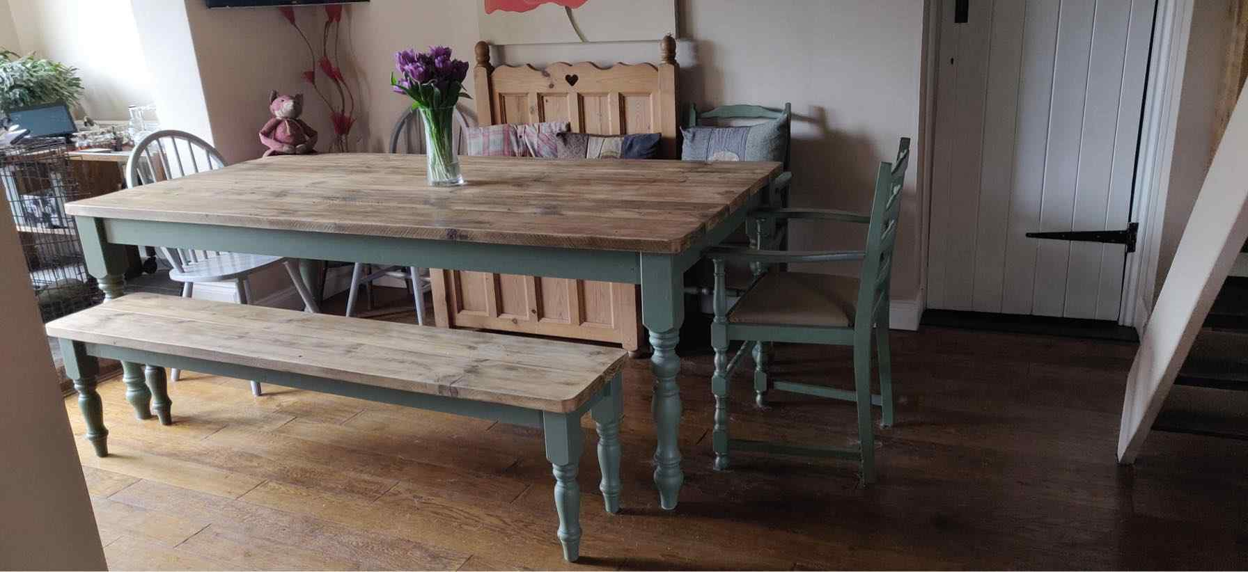 large hand made wooden dining table