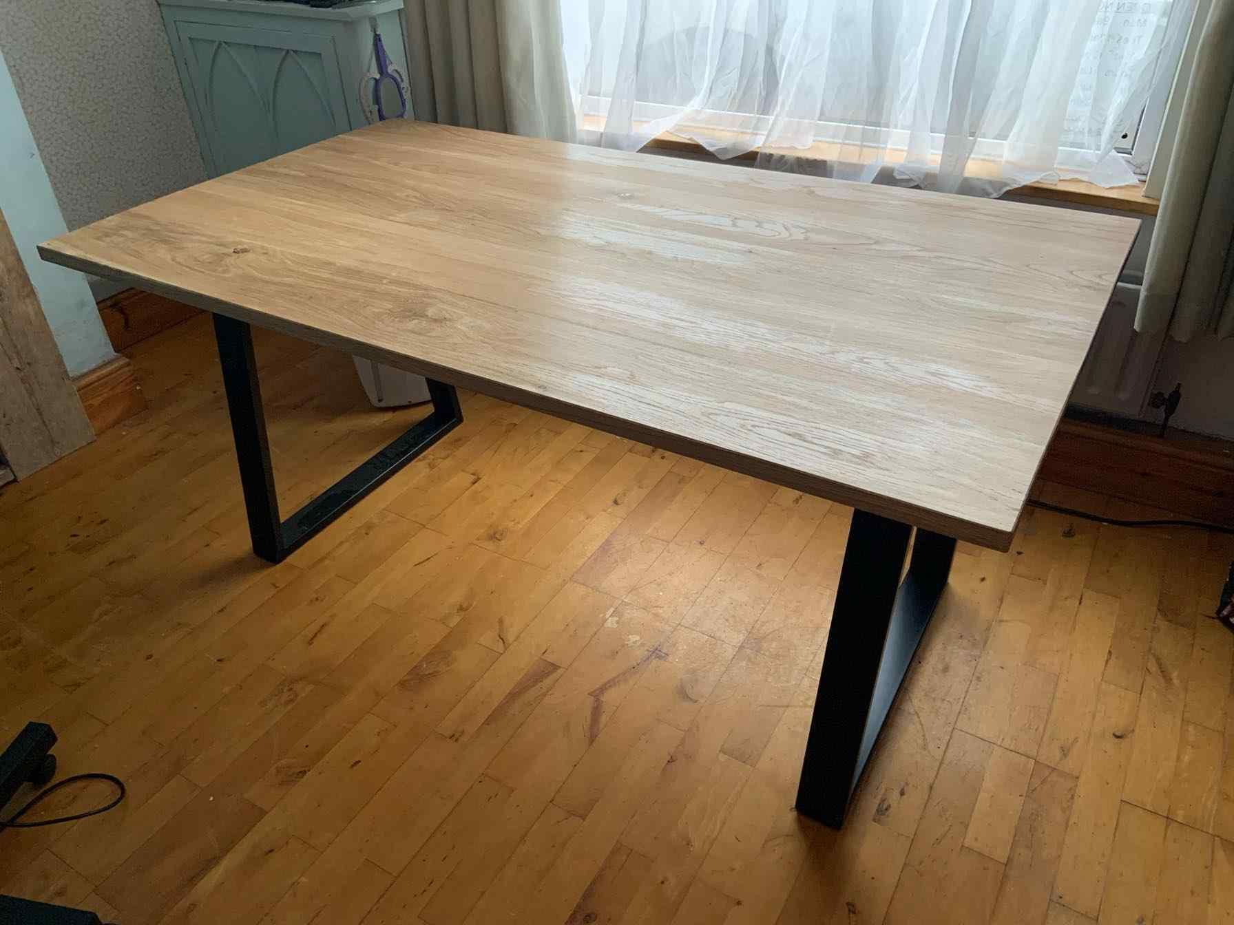 large modern reclaimed wood dining table metal legs