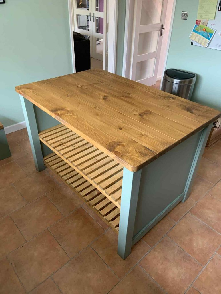 luxury solid wood kitchen island with shelves