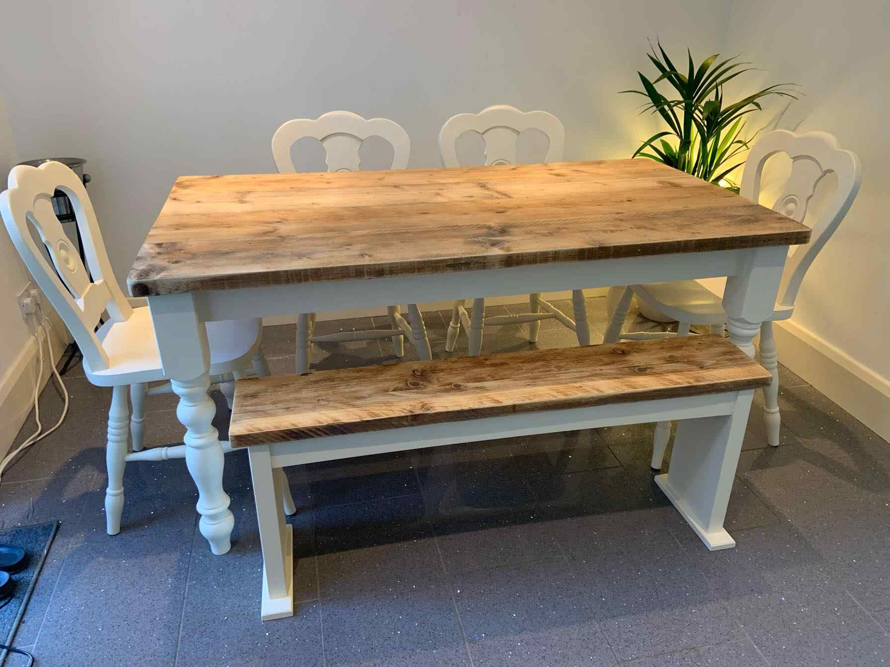 medium bespoke reclaimed wood dining table painted legs light grey