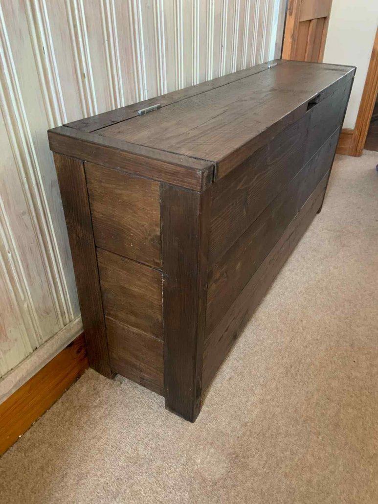 narrow reclaimed wood storage chest