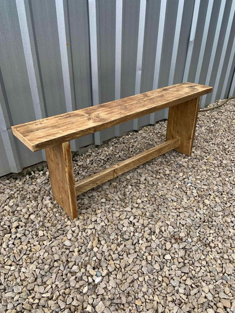 oak stained bench