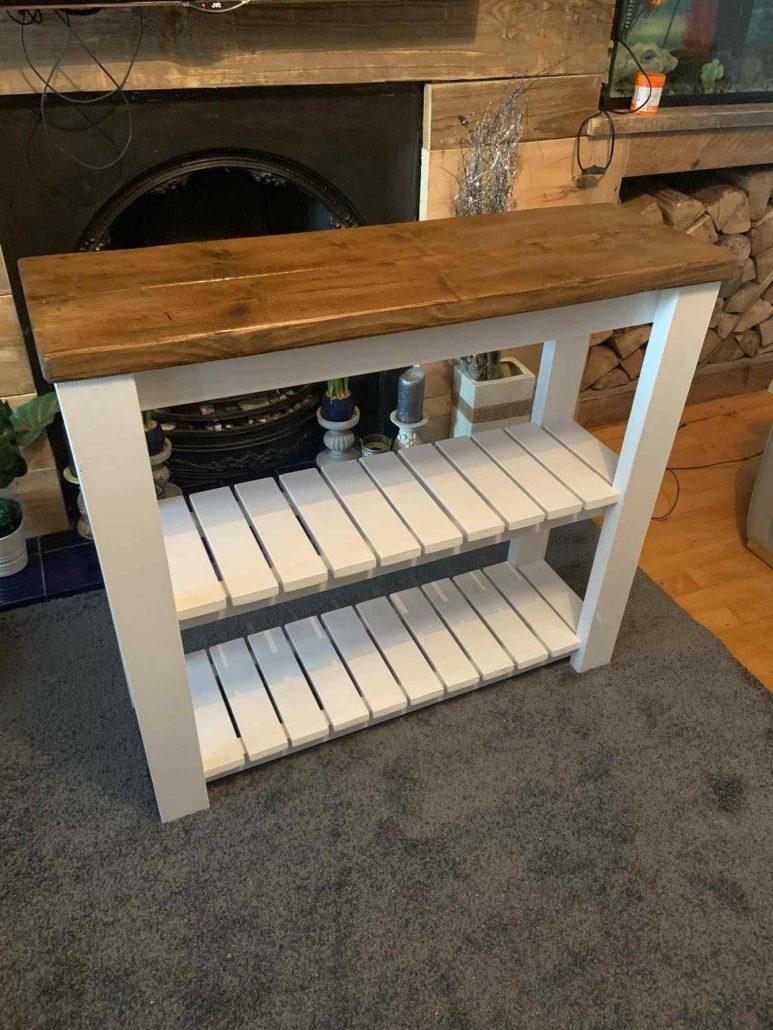 oak stained wooden sideboard