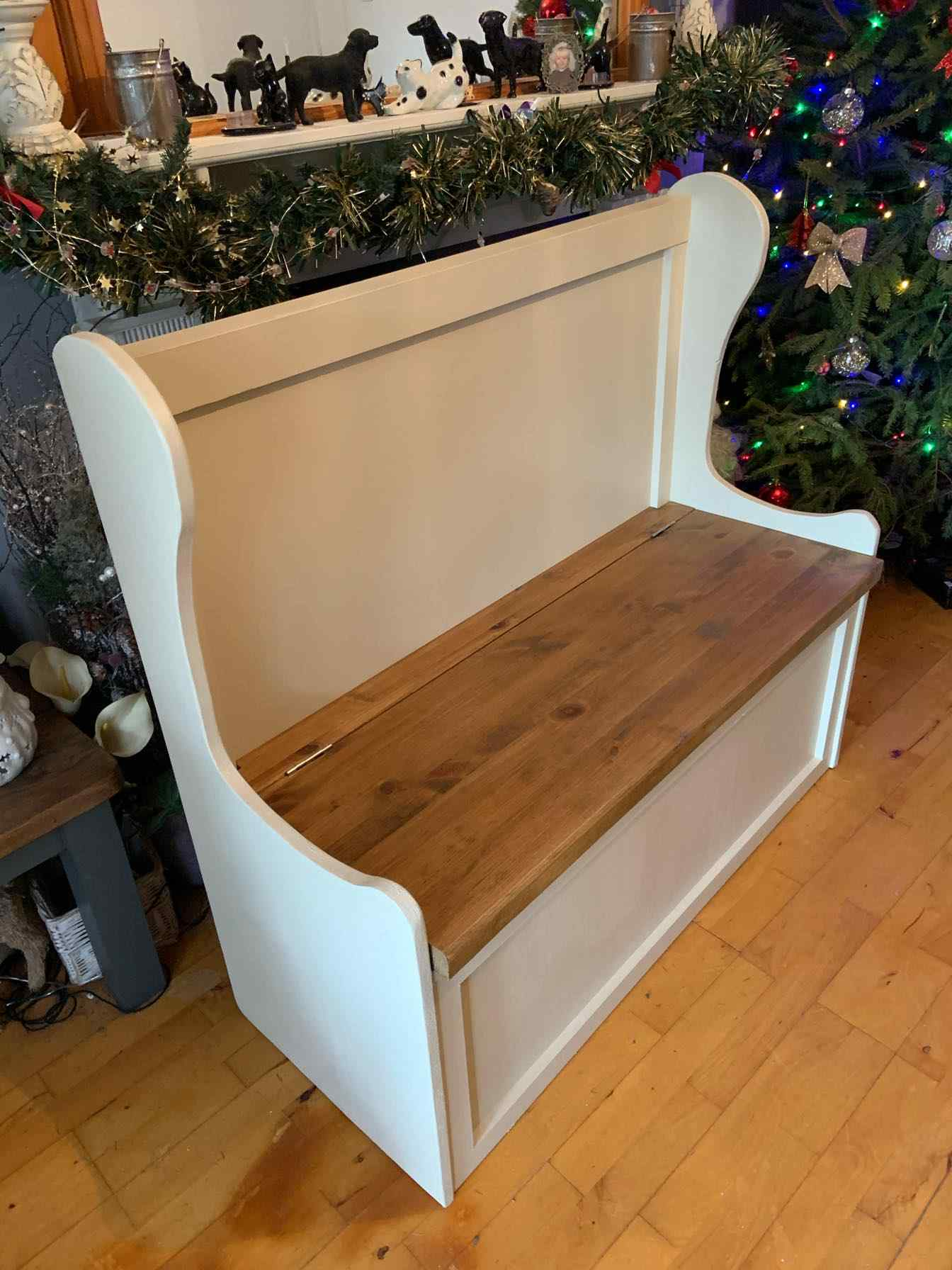 painted wood storage bench