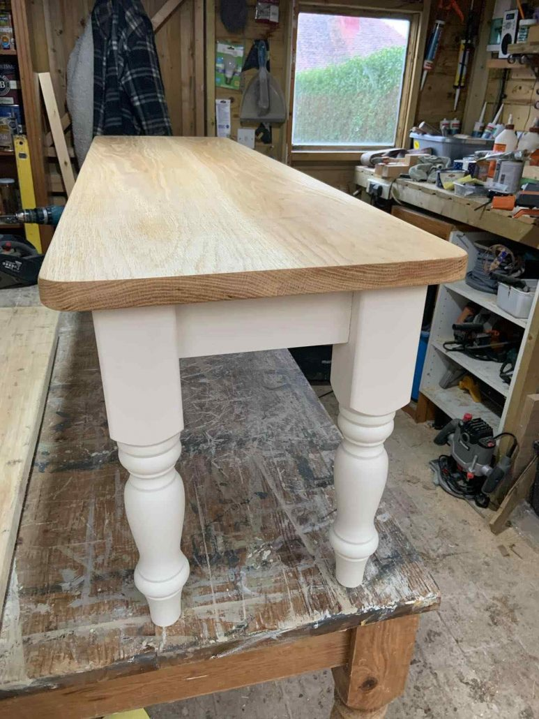 reclaimed wood bench white painted legs