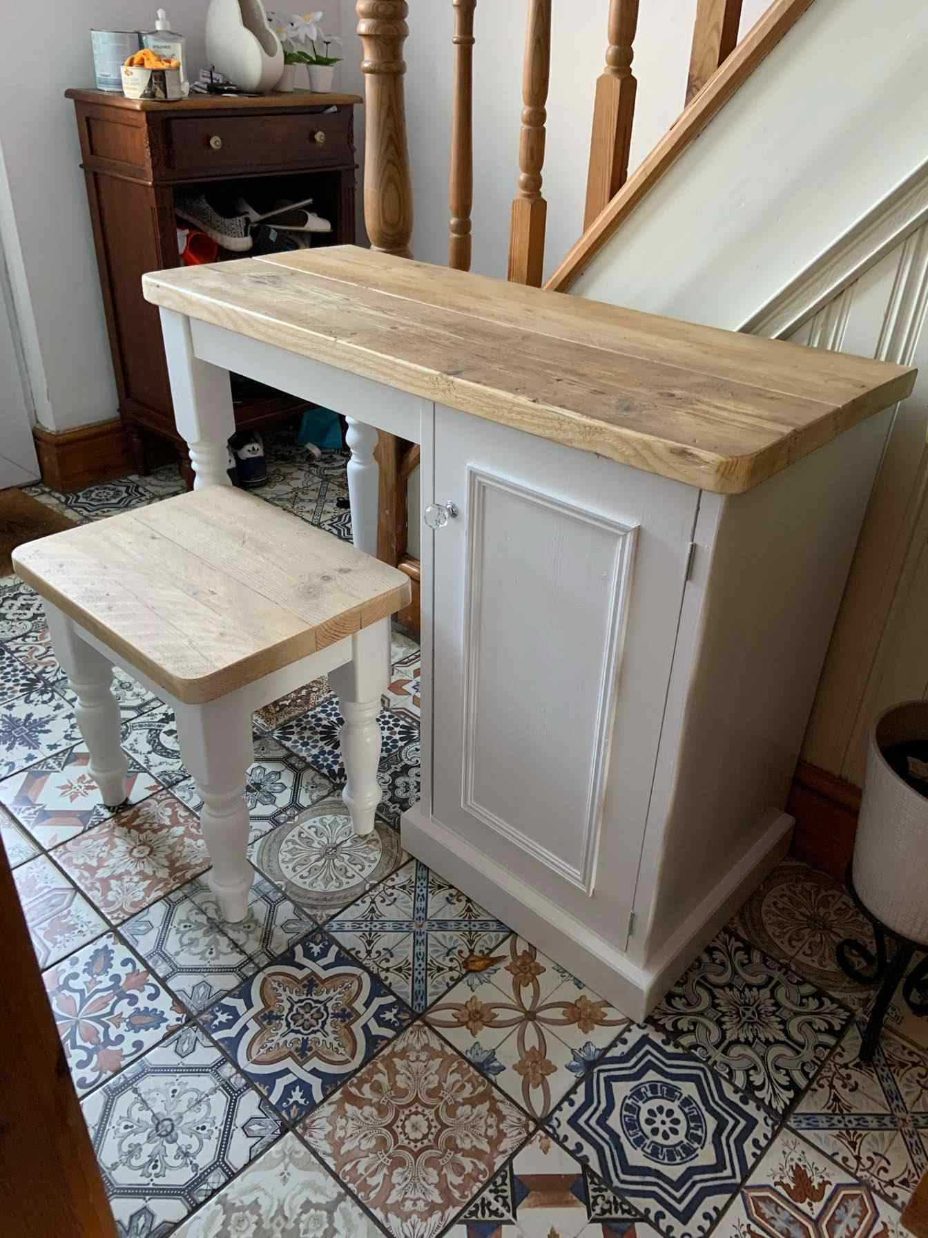 reclaimed wood desk with storage unit